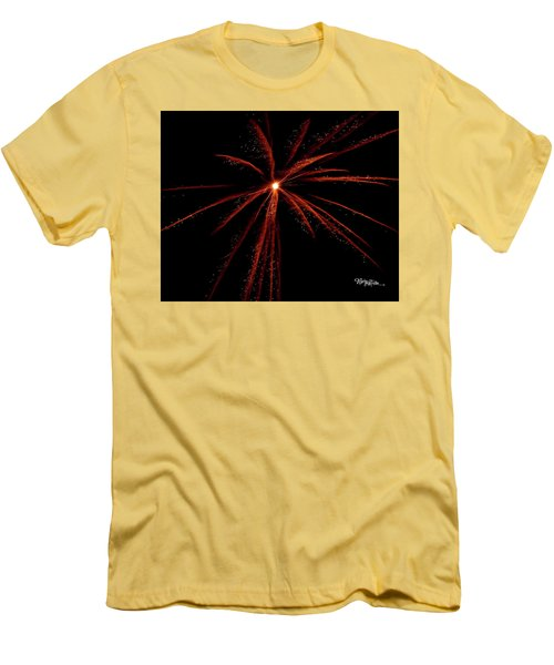 Men's T-Shirt (Athletic Fit) featuring the photograph Red Fireworks #0699 by Barbara Tristan