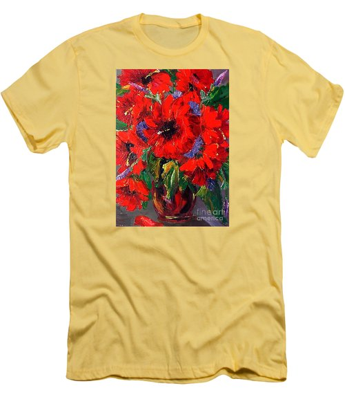 Red Floral Men's T-Shirt (Athletic Fit)
