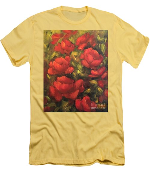 Red Flowers Men's T-Shirt (Slim Fit) by Inese Poga