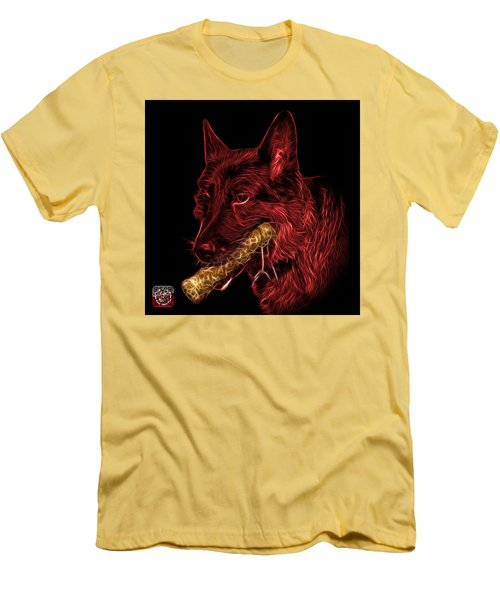 Men's T-Shirt (Slim Fit) featuring the digital art Red German Shepherd And Toy - 0745 F by James Ahn