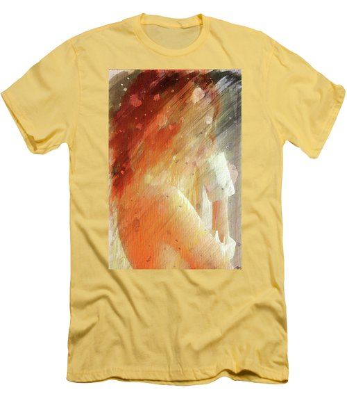 Red Head Drinking Coffee Men's T-Shirt (Slim Fit) by Andrea Barbieri