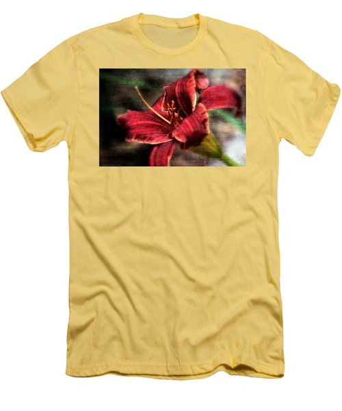 Red Lilly Men's T-Shirt (Slim Fit) by Michaela Preston