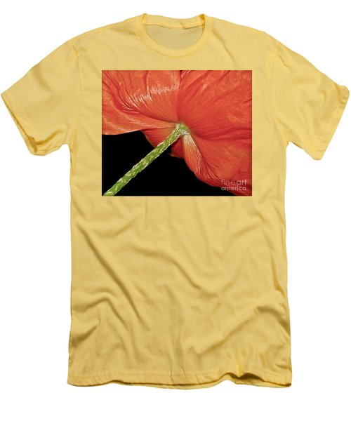 Red Poppy Flower On Black Background Men's T-Shirt (Slim Fit) by Carol F Austin