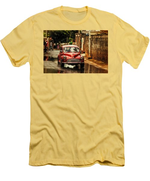 Red Retromobile. Morris Minor Men's T-Shirt (Slim Fit) by Jenny Rainbow