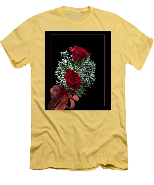 Men's T-Shirt (Slim Fit) featuring the photograph Red Roses For A Blue Lady by Judy Johnson