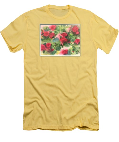 Red Roses Men's T-Shirt (Slim Fit) by Lucia Grilletto