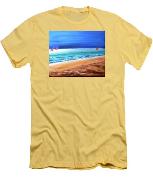 Men's T-Shirt (Slim Fit) featuring the painting Red Sails by Winsome Gunning