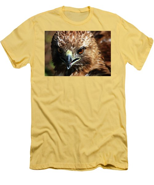 Men's T-Shirt (Slim Fit) featuring the photograph Red-tail Hawk Portrait by Anthony Jones