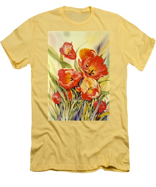 Red Tulips In My Garden Men's T-Shirt (Athletic Fit)