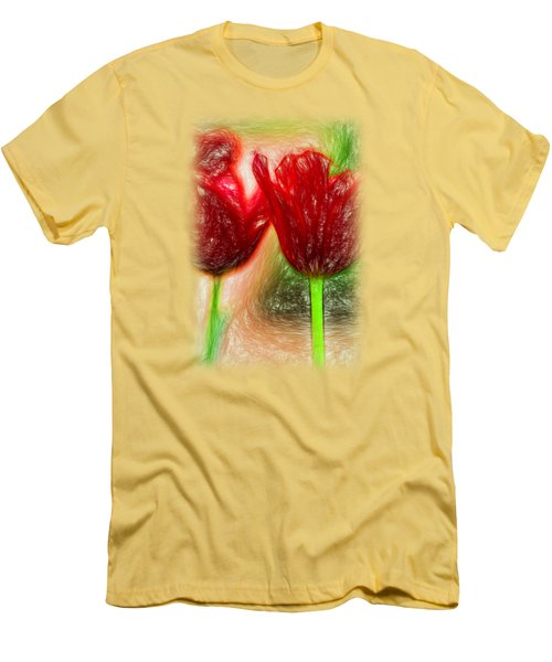 Red Tulips T-shirt Men's T-Shirt (Athletic Fit)