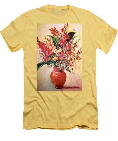 Red Vase Men's T-Shirt (Slim Fit) by Alexandra Maria Ethlyn Cheshire