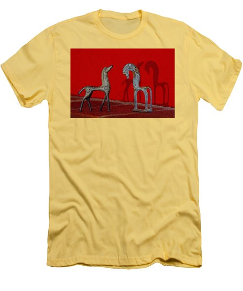 Red Wall Horse Statues Men's T-Shirt (Slim Fit) by Jana Russon