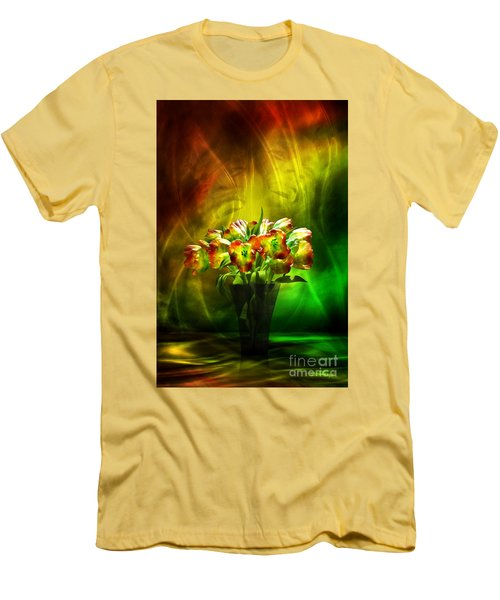 Men's T-Shirt (Slim Fit) featuring the digital art Reggae Tulips by Johnny Hildingsson