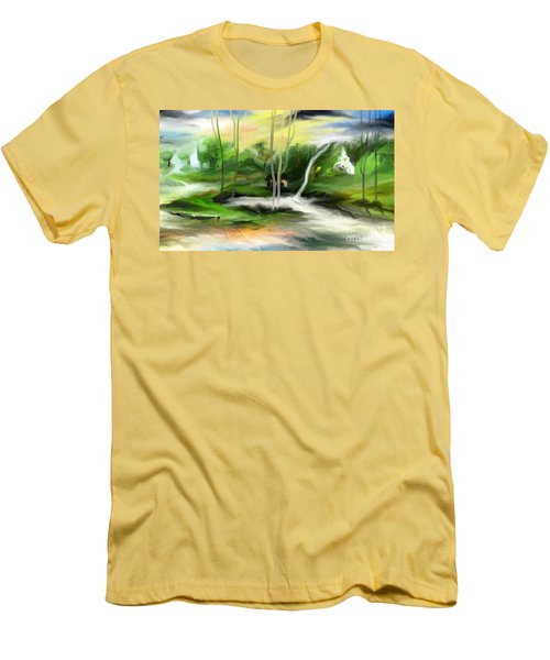 Men's T-Shirt (Slim Fit) featuring the painting Retreat by Rushan Ruzaick