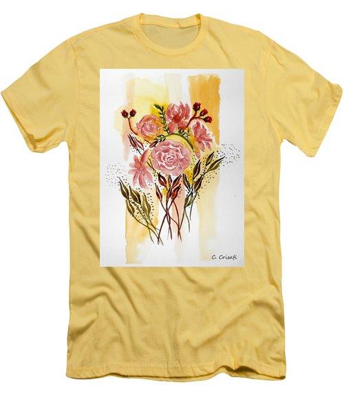 Retro Florals Men's T-Shirt (Slim Fit) by Carol Crisafi