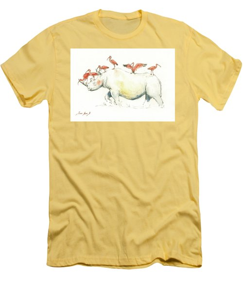 Rhino And Ibis Men's T-Shirt (Slim Fit) by Juan Bosco