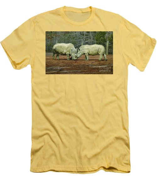 Rhinos In Love Men's T-Shirt (Slim Fit) by Melissa Messick