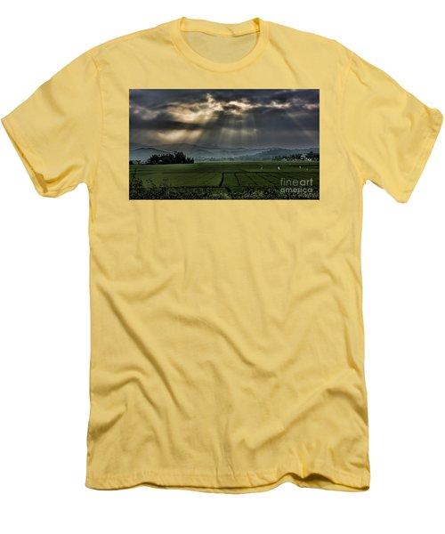Rice Fields Rays Light  Men's T-Shirt (Slim Fit) by Chuck Kuhn