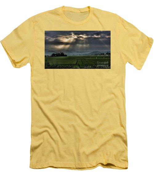 Rice Fields Rays Light  Men's T-Shirt (Athletic Fit)