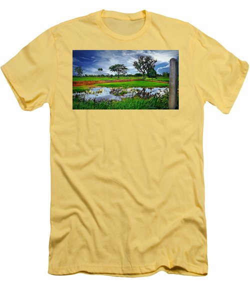 Rice Paddy View Men's T-Shirt (Slim Fit) by Ian Gledhill