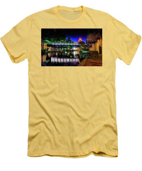Riverwalk Bridge Men's T-Shirt (Slim Fit) by Mark Dunton