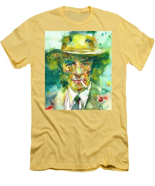 Men's T-Shirt (Slim Fit) featuring the painting Robert Oppenheimer - Watercolor Portrait.2 by Fabrizio Cassetta