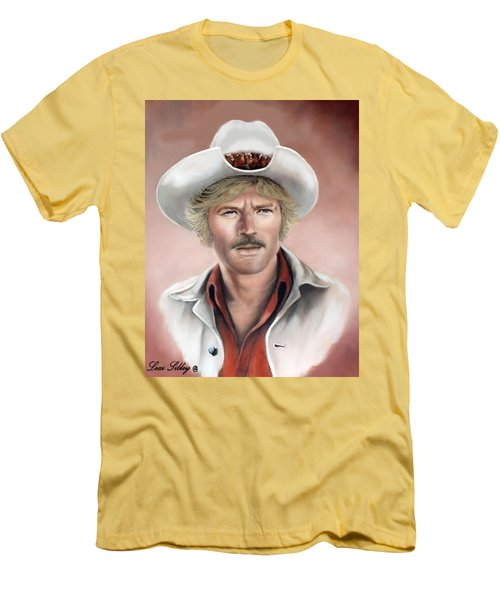 Men's T-Shirt (Slim Fit) featuring the painting Robert Redford by Loxi Sibley