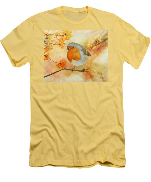 Robin Among Flowers Men's T-Shirt (Athletic Fit)