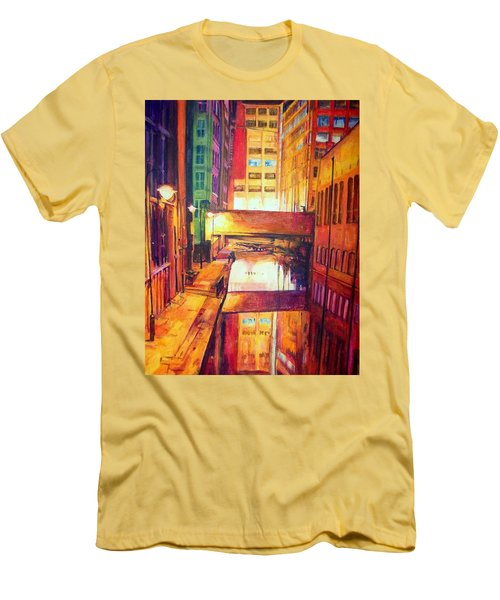Rochdale Canal With Lock At Night Men's T-Shirt (Athletic Fit)