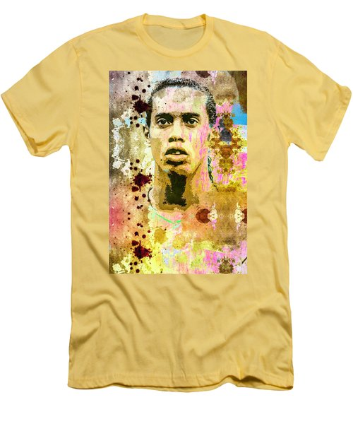 Men's T-Shirt (Slim Fit) featuring the mixed media Ronaldinho Gaucho by Svelby Art