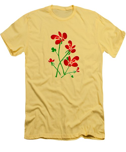 Rooster Flowers Men's T-Shirt (Slim Fit) by Anastasiya Malakhova
