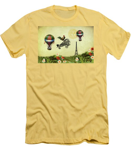 Rooster Flying High Men's T-Shirt (Slim Fit) by Peggy Collins