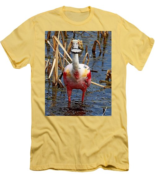 Roseate Spoonbill And Water Drops Men's T-Shirt (Athletic Fit)