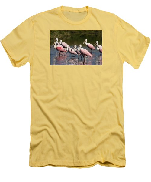 Roseate Spoonbills Men's T-Shirt (Slim Fit) by Sally Weigand