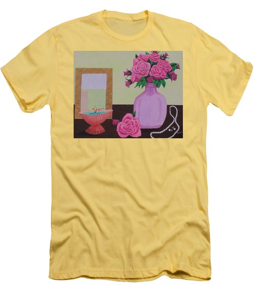 Roses And Pearls Men's T-Shirt (Slim Fit) by Hilda and Jose Garrancho