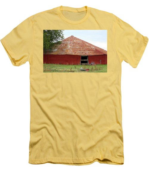 Men's T-Shirt (Slim Fit) featuring the photograph Round Red Barn by Sheila Brown