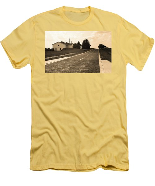 Men's T-Shirt (Slim Fit) featuring the photograph Route 66 - Brick Highway Sepia by Frank Romeo