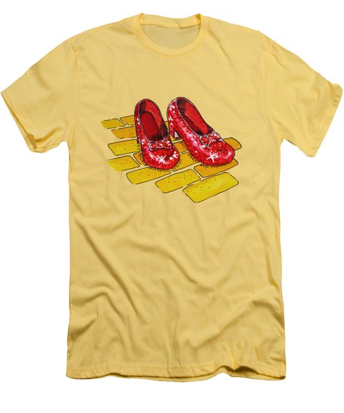 Ruby Slippers Wizard Of Oz Men's T-Shirt (Slim Fit) by Irina Sztukowski