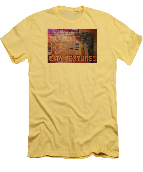 Men's T-Shirt (Slim Fit) featuring the mixed media Ruby Vintage Urban Textures by John Fish