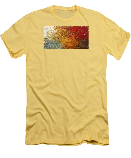 Men's T-Shirt (Slim Fit) featuring the painting Running Free - Abstract Art by Carmen Guedez