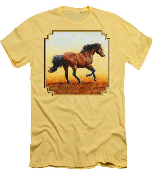 Running Horse - Evening Fire Men's T-Shirt (Slim Fit) by Crista Forest
