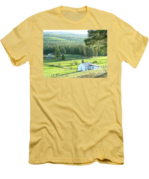 Rural Church In The Valley Men's T-Shirt (Slim Fit) by Cindy Croal