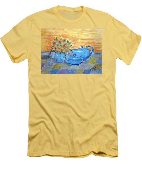 Men's T-Shirt (Slim Fit) featuring the painting Russel Wright China  by Kathy Marrs Chandler