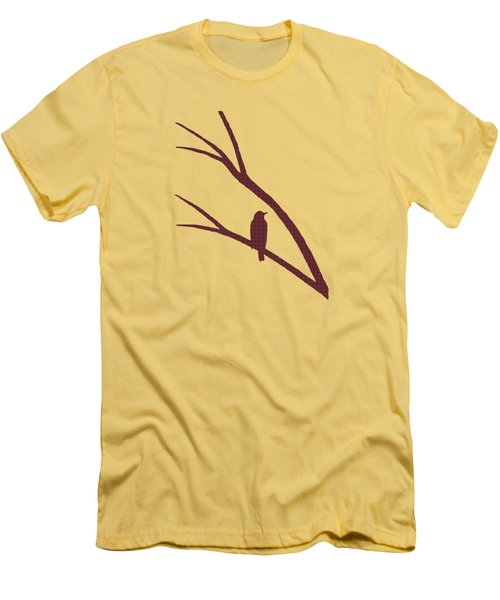 Men's T-Shirt (Slim Fit) featuring the mixed media Rustic Bird Art Dark Red Bird Silhouette by Christina Rollo