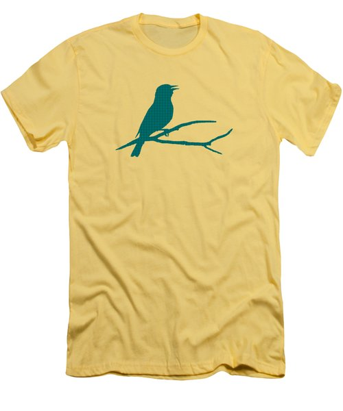 Rustic Green Bird Silhouette Men's T-Shirt (Slim Fit) by Christina Rollo