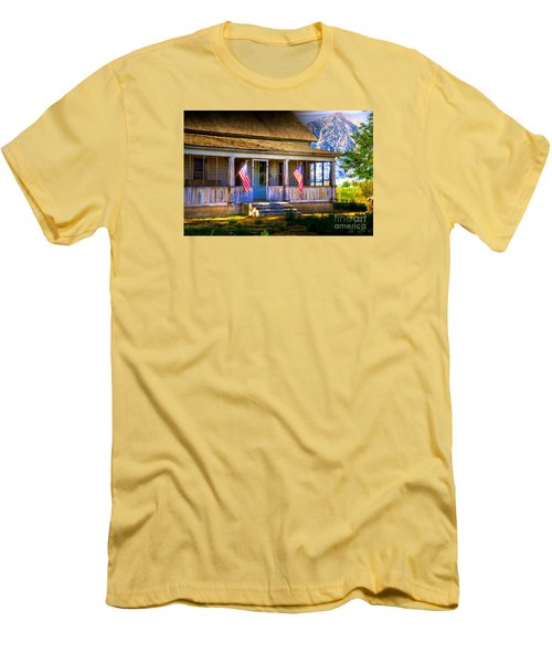 Men's T-Shirt (Slim Fit) featuring the photograph Rustic Patriotic House by Kelly Wade
