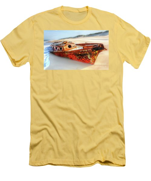 Men's T-Shirt (Slim Fit) featuring the painting Rusty Shipwreck On The Outer Banks Of North Carolina Ap by Dan Carmichael