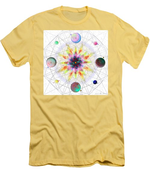 Men's T-Shirt (Athletic Fit) featuring the digital art Sacred Planetary Geometry - Red Atom Light by Iowan Stone-Flowers