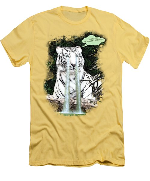 Men's T-Shirt (Slim Fit) featuring the painting Sad White Tiger Typography by Georgeta Blanaru