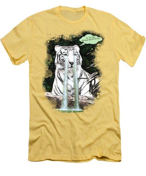 Sad White Tiger Typography Men's T-Shirt (Slim Fit) by Georgeta Blanaru